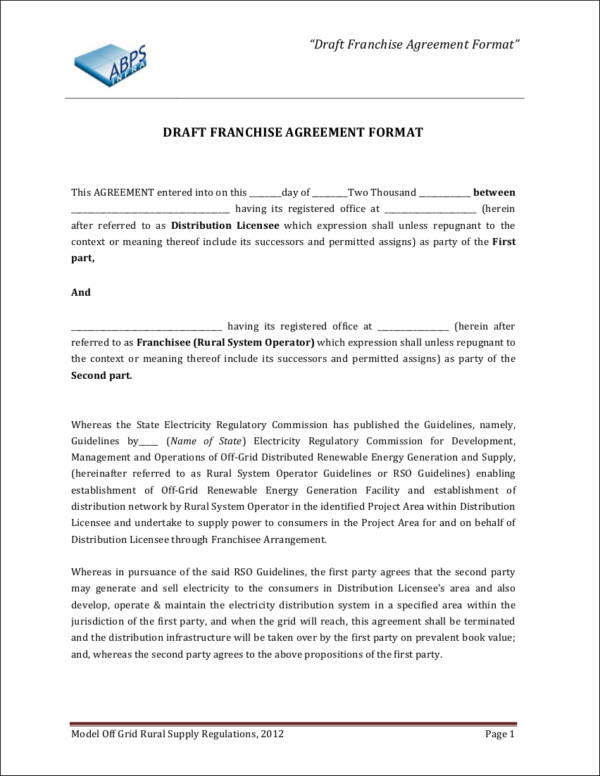 Franchise Agreement Format