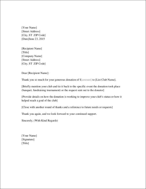 fundraising thank you letter example