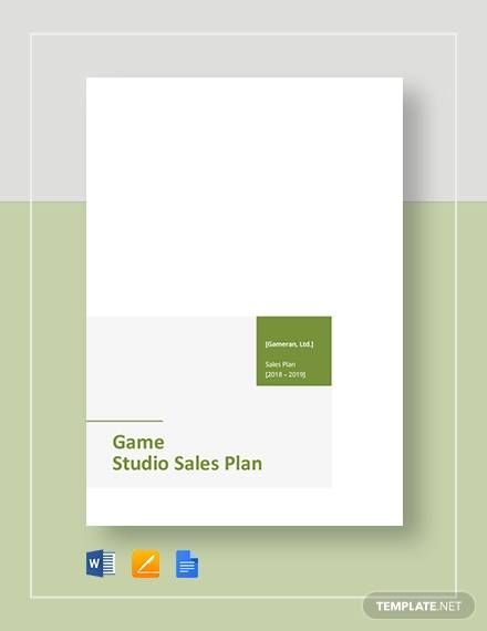 game or game studio sales plan template
