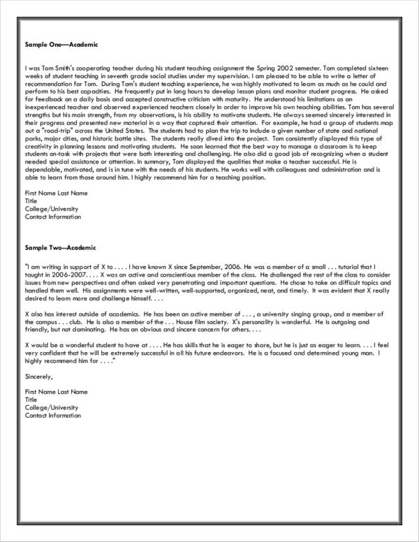 graduate school letter of recommendation sample