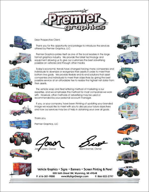 graphics services company introdction letter