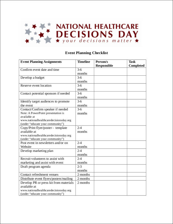 Event Planning Checklist Ideas  Free Samples In Pdf