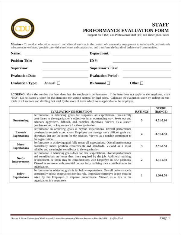 health professional employee evaluation form sample