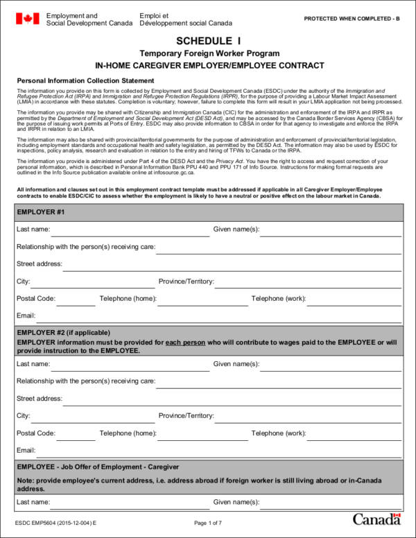 in home caregiver employment contract