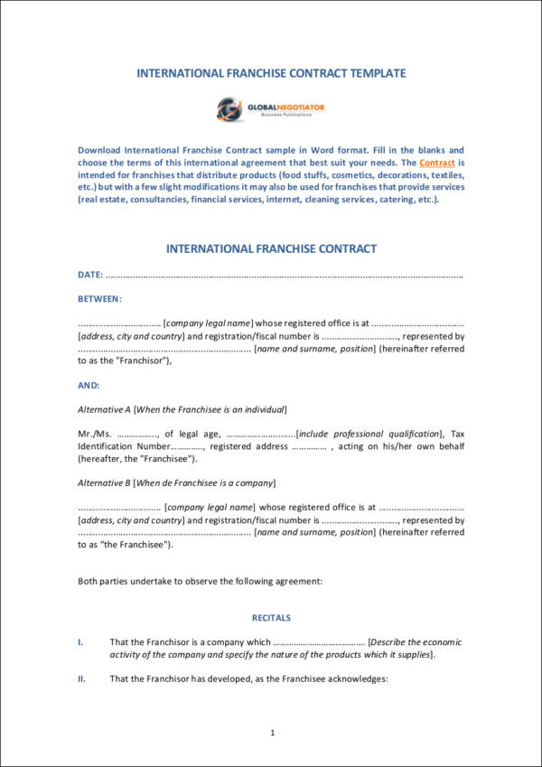 International Franchise Contract Template Sample