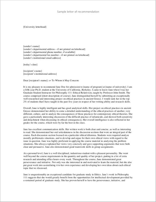 letter of recommendation example for download