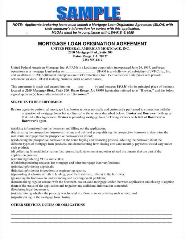 mortgage loan origination agreement contract