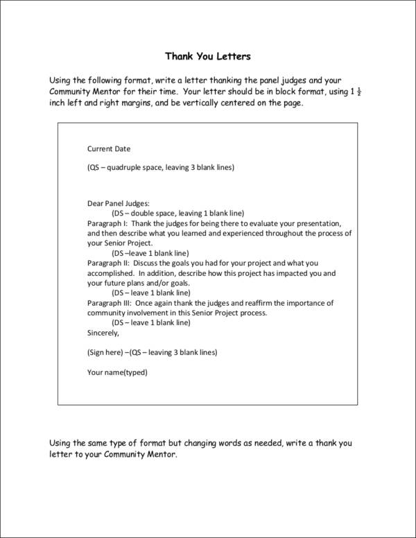mentor thank you letter template