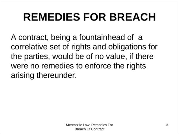 Remedies For Contract BreachesFree Download In Pdf