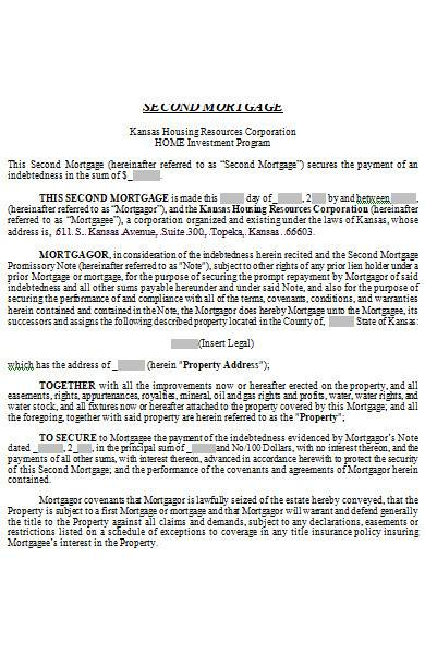 mortgage agreement contract in ms word