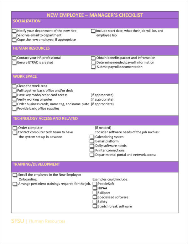 new employees checklist