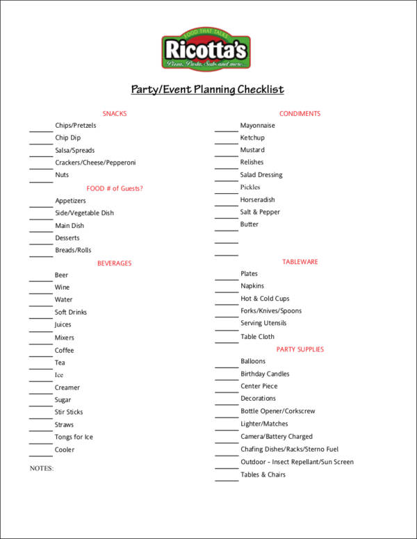 party or planning checklist
