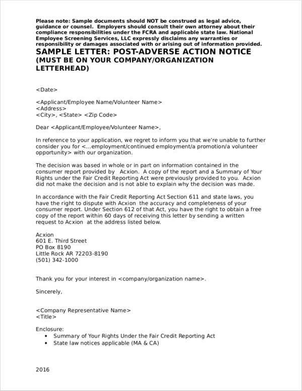 pre adverse action letter what is an adverse notice sample templates 24041 | Post Adverse Action Notice Sample
