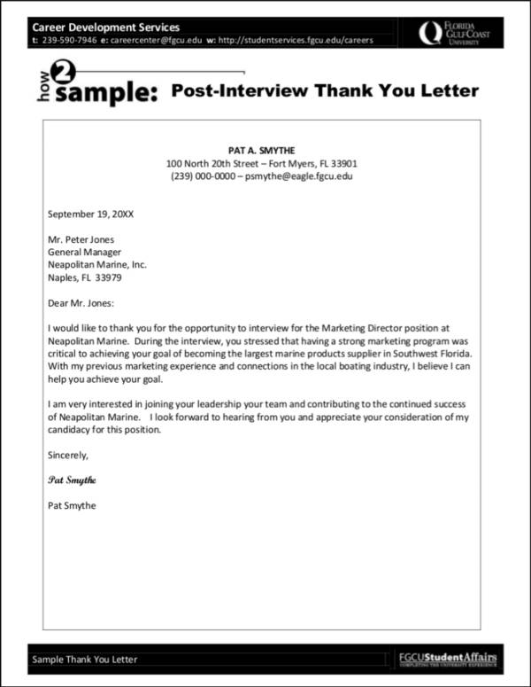 post interview thank you letter sample