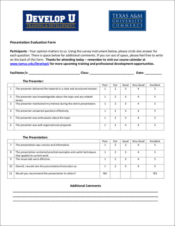 What is evaluation sample templates for Presenter evaluation form template