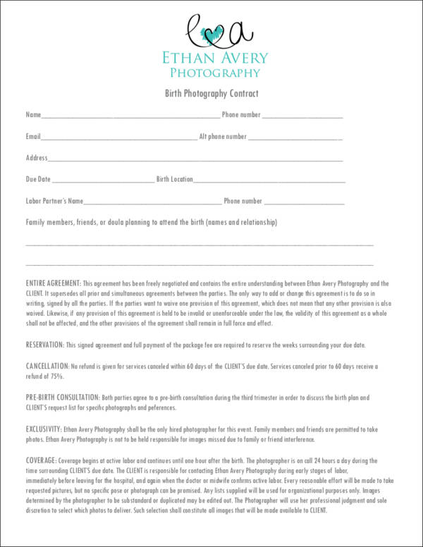 19 photography contract templates sample templates for Birth photography contract template