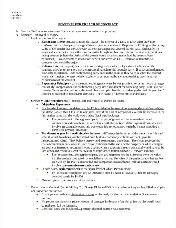 remedies for breach of contract essay Remedies for breach of contract under the cisg avery w katz columbia university school of law, 435 w 116th street, new york, ny 10027-7297, usa abstract in this essay, i survey the three main remedial categories of the convention on the international sale of goods (cisg) [specific performance, money damages,.