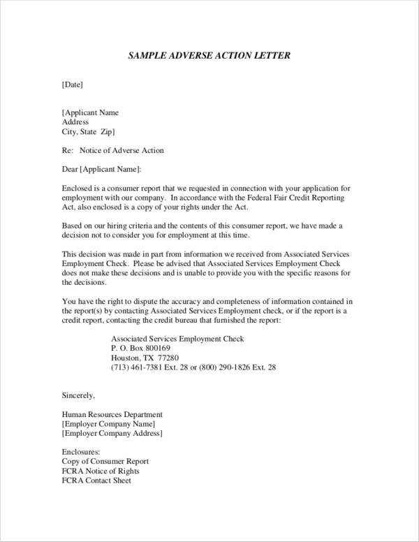 sample adverse action notice letter