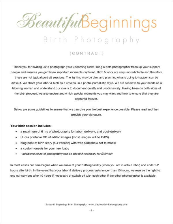 sample birth photography contract in pdf
