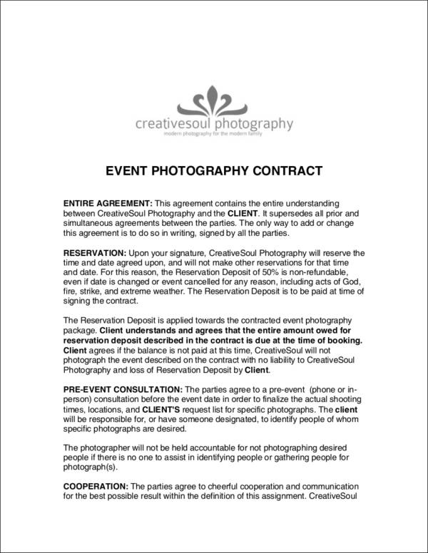 sample event photography contract