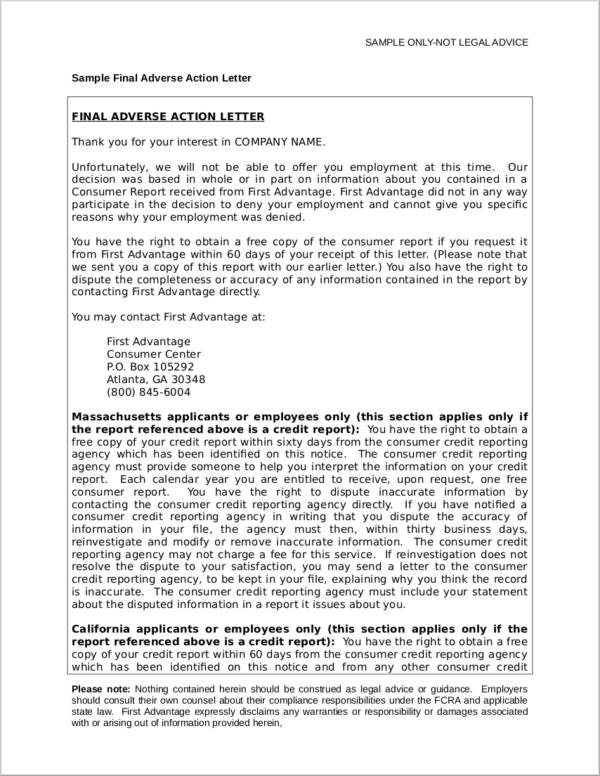 sample final adverse action notice letter
