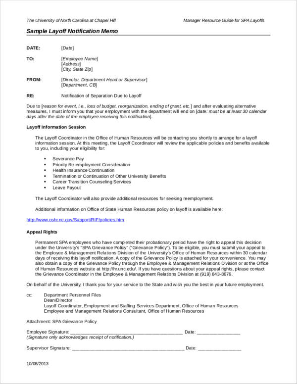 sample layoff notificatio memo to download