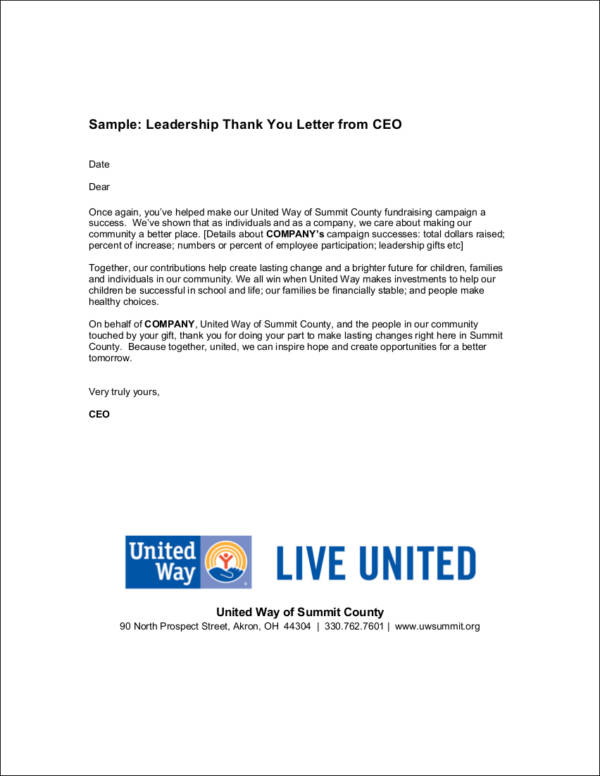 sample leadership thank you letter from ceo