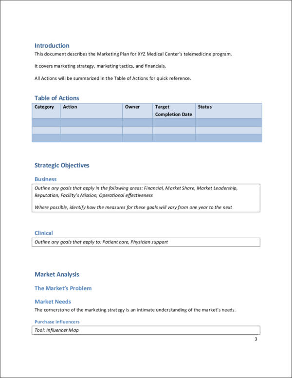 sample medical marketing plan template