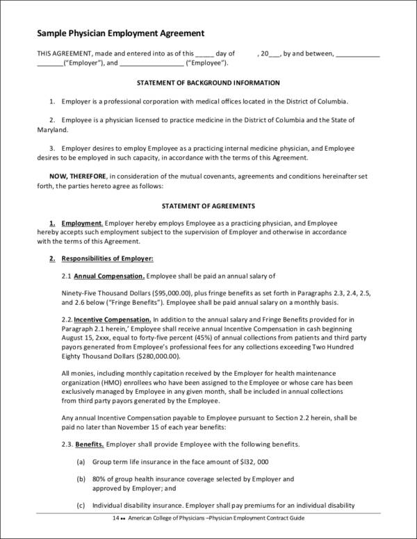 Physician Employment Agreement Contract Of Employment Pdf Blank