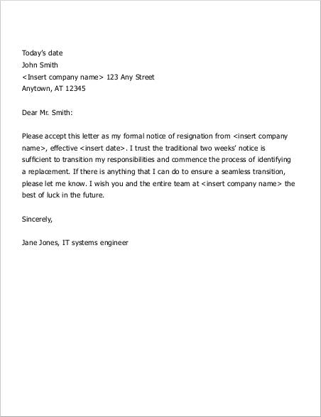 sample two weeks notice letter in pdf