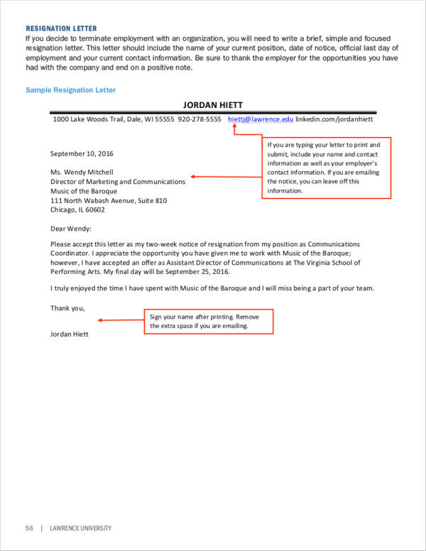 sample two weeks notice resignation letter format in pdf