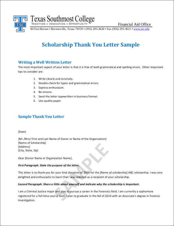 Writing College Scholarship ThankYou Letters
