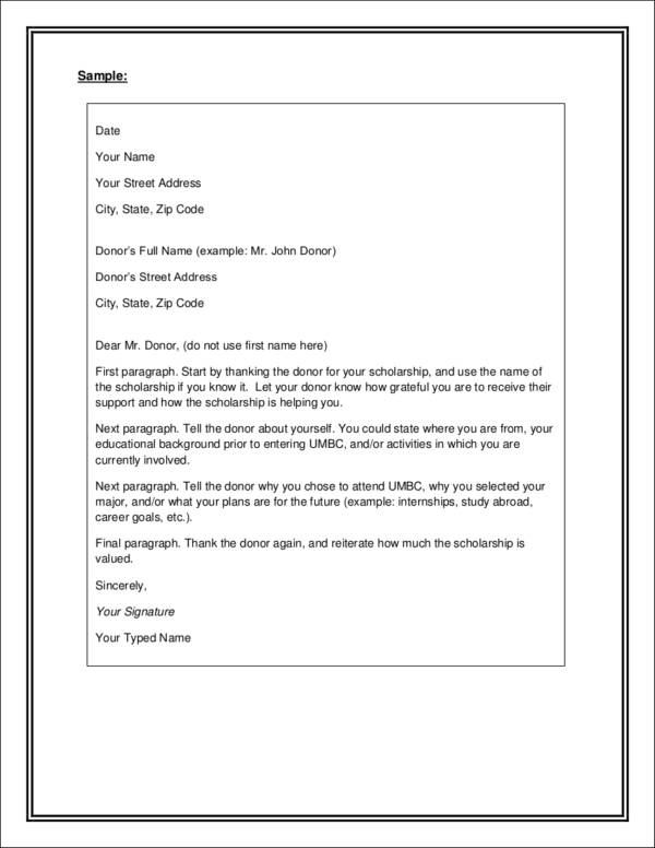 scholarship thank you letter template