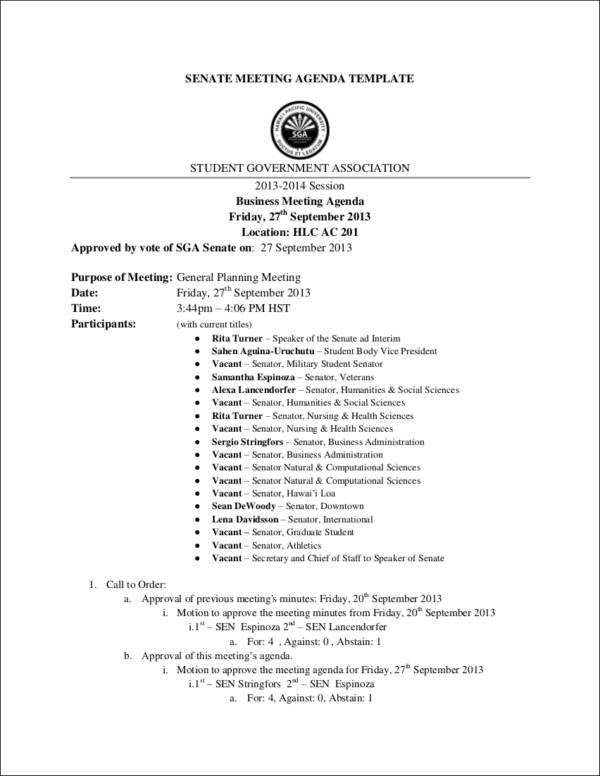 senate meeting agenda template