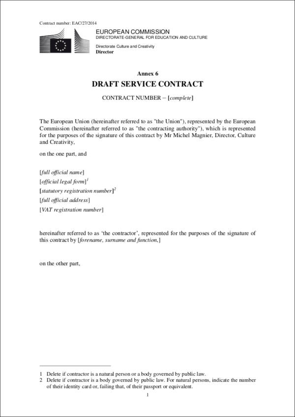 Draft Blank Framework Service Contract Contract Number Agreement For