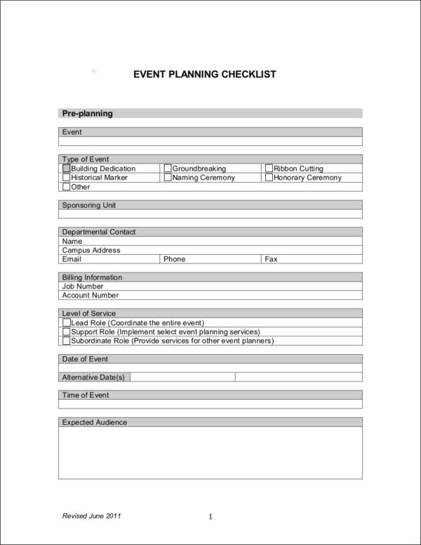 simple event planning checklist