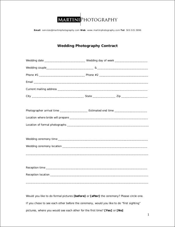 Wedding Photographer Contract  BesikEightyCo