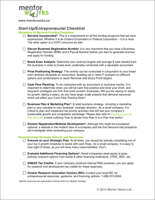 start up or entrepreneurial checklist