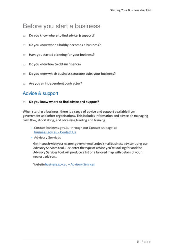 starting your business checklist pdf