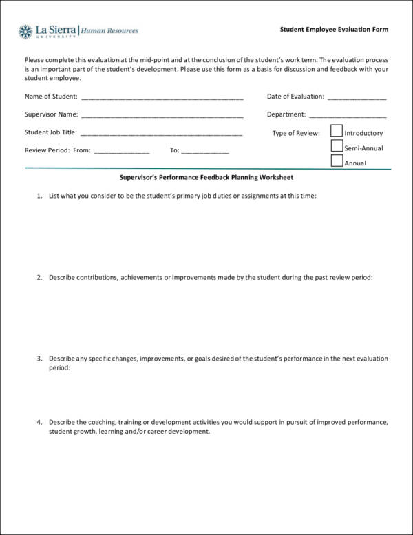 student employee performance evaluation form sample