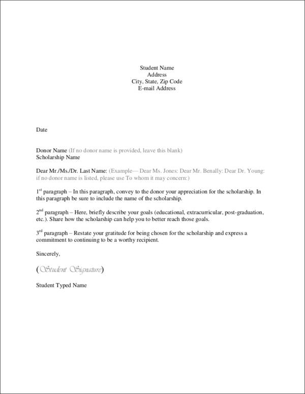 student thank you letter template
