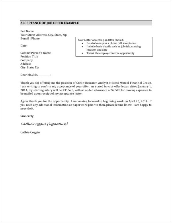 thank you letter for acceptance of job offer example