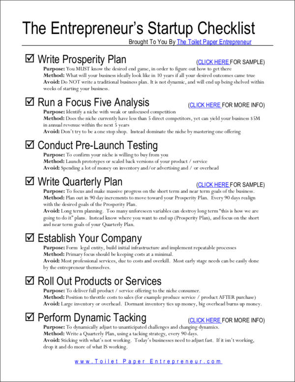 Entrepreneurial Checklist For Success  Free Samples In Pdf