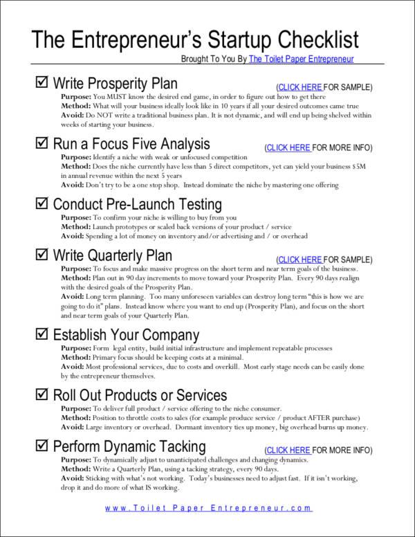 the entrepreneur's startup checklist