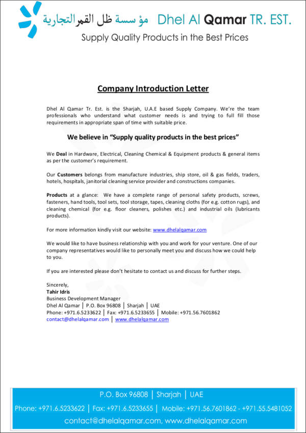 Company introduction letter format sample templates trading company introduction letter altavistaventures Image collections
