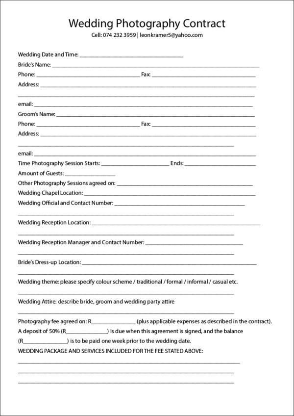 Printable Wedding Photography Contract Template