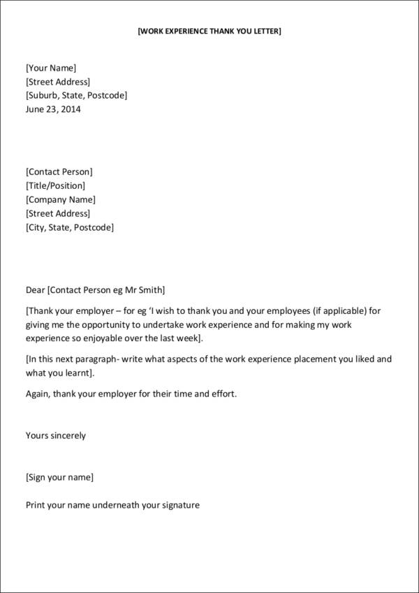 work experience thank you letter template