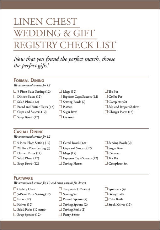 wedding registry checklist pdf
