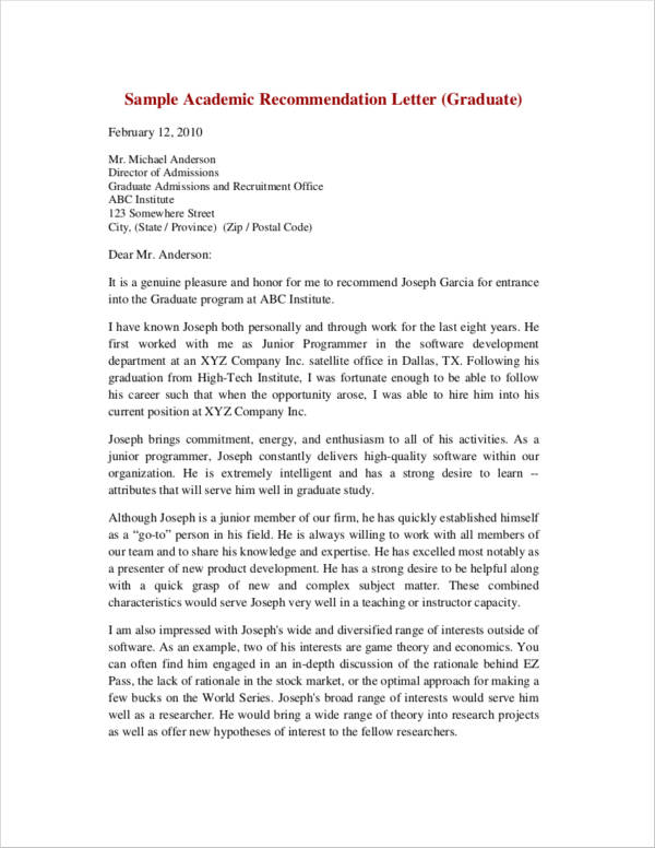 Free 43 Letter Of Recommendation Samples Templates In Pdf
