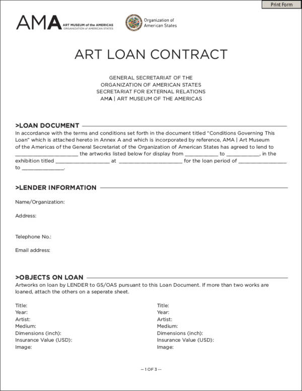 art loan contract sample for museum